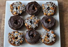 Almond Flour Donuts with Cinnamon or Chocolate Frosting (Gluten-free, dairy-free, refined sugar-free)