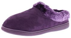 Jockey Womens Faux Fur Slip On House Slippers, PURPLE, M -- Details can be found by clicking on the image.