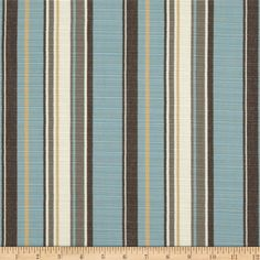 Sunbrella Outdoor Carnegie Stripe Celeste from @fabricdotcom  IColors include aqua, ivory, mustard, gold, putty and chocolate brown.