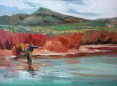 Dogwood, flyfishing, northwest landscape, dogwood bushes, mary maxam, fishing art