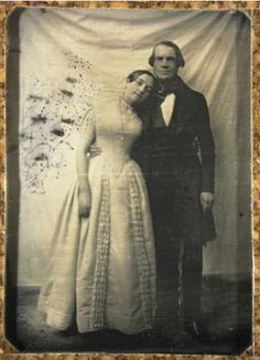 Such a sweetly informal pose (by her, at least) from a period of photographic formality. Eduard Biewend and his Bride, Feodore 7 July 1842 Victorian Photos, Antique Photos, Vintage Pictures, Vintage Photographs, Victorian Era, Old Pictures, Vintage Images, Old Photos, Vintage Abbildungen