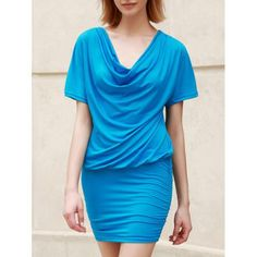 Casual Women's Cowl Neck Short Sleeve Solid Color Bodycon Dress