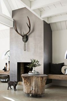 Concrete, horns. Wood+ white+ black