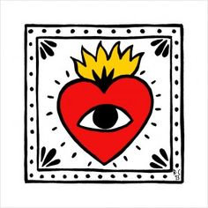 Eye and heart ❤️&👁 Art And Illustration, Posca Art, Mexican Folk Art, Sacred Heart, Heart Art, Doodle Art, Art Inspo, Art Drawings, Artsy