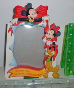 Mickey Mouse Minnie Goofy Disney World 1993 Cast Holiday Ceramic Picture Frame