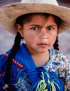 Humahuaca, Quebrada de Humahuaca, Jujuy Province, Argentina - January 7, 2012: Portrait of a young Quechua girl
