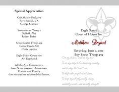 Eagle Scout Court Of Honor Program Template CakepinsCom  Court