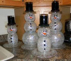 Just Me!  These are made out of old fishbowls or vases.   #recycledglasssnowman, #snowman,