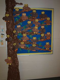 These are our owl glyphs.  One of the questions was, Are you a night owl?  Can you spot the owls that belong to the four kids who aren't night owls?  Look closely and you will see their owls SNOOZING in the tree!