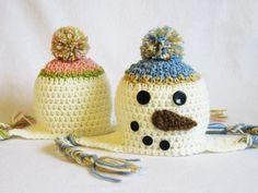 CROCHET PATTERN Snowman Earflap Hat. So cute!