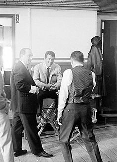 """francisalbertsinatra: """" Frank Sinatra and Dean Martin on the set of Marriage on the Rocks, photographed by John Dominis, c. 1965 """""""