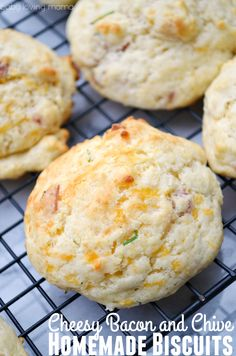 Cheesy Bacon and Chive Homemade Biscuits- See how easy it is to make these drop biscuits from scratch. So good!!! They can be on your table in less than 20 minutes and are perfect for serving with soup! #foodforyourmood #ad