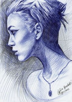Keira Knightley Ballpoint Pen by *AngelinaBenedetti - ball point pen drawing