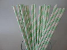 Mint green Stripe Paper Straws