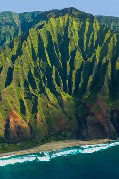 Na Pali coast Kauai Hawaii....you can only are it by sea or air! Breathtaking.... www.bluehawaiian.com
