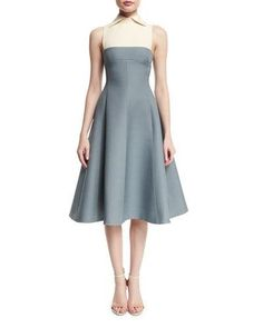 Sleeveless Collared Fit-&-Flare Dress, Silver