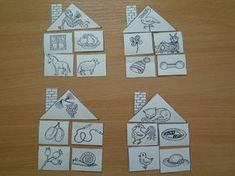 Úkol z logopedie. Adámek má složit domoček podle počátečního písmena podle obrázku. Takže třeba opice (okno, ovoce, osel, ovce) nebo čáp (...