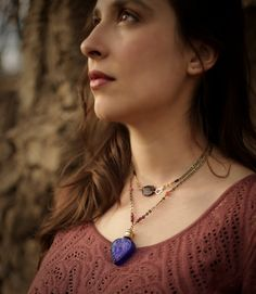 The Gyspy's Heart Amulet - perfume oil in blue glass perfume bottle necklace, pendant with garnet, sunstone, black spinel -For Strange Women