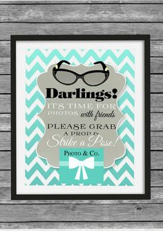 Tiffany & Co. Inspired Photo Booth Sign - Tiffany Sign - Breakfast at Tiffany Decor - DIY Printable File - 8x10