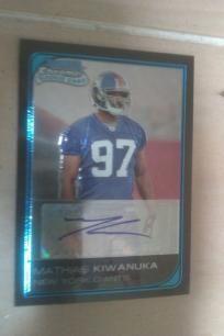 2006 Topps Rookie Autograph Bowman Chrome Card Mathias Kiwanuka NFL New York Giants.