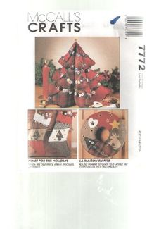 HOME FOR THE HOLIDAYS - MCCALLS CRAFTS SEWING PATTERN 7772 - CHRISTMAS PROJECTS TO SEW MCCALLS