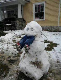 Hilarious snowman eating child!