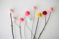 DIY Pom Bouquet! LOVE this unique idea...so cheery and bright! #poms #pombouquet