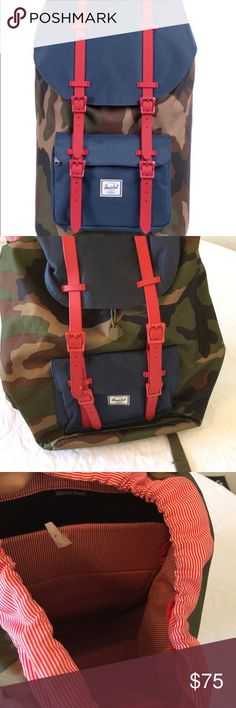 """Herschel, nwot, little america backpack Awesome backpack, comfortable and has lots of space. Store sample, nwot, camo, navy and red. Signature striped fabric liner Padded and fleece lined 15"""" laptop sleeve Adjustable drawstring closure Magnetic strap closures with metal pin clips Front pocket with hidden zipper and key clip Internal media pocket with headphone port Contoured shoulder straps and air mesh back padding Classic woven label DIMENSIONS 19.5""""(H) x 11.25""""(W) x 7""""(D), 25L  no trades…"""