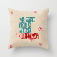 we wish you a merry christmas Throw Pillow by Sylvia Cook Photography - $20.00