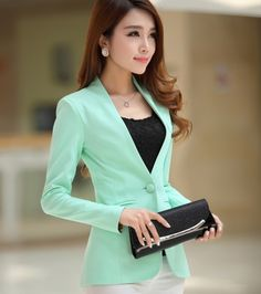 Spring and autumn 2014 long-sleeve suit slim medium-long candy color female  outerwear  Didiar Young women blazers blaser $26.35
