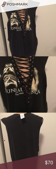 """LF/Furst of a Kind Lace up Muscle T NWT. """"Juneau Alaska"""" graphic. No trades! Oversized fit LF Tops Muscle Tees"""