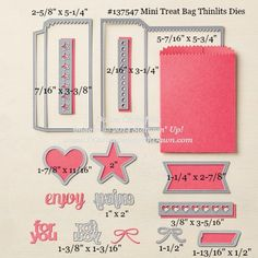 Mini Treat Bag Thinlits sizes shared by Dawn Olchefske #dostamping #stampinup