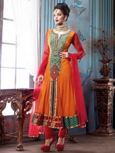 Orange Net Anarkali Suit With Diamond Work