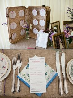 pretty vintage wedding decor place setting, image by Emma Case Photography