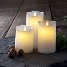 Sirius Set of 3 Tenna Wax Candles LED Flame Free in White