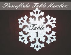 Silver Snowflake Winter Holiday Wedding Or Party - Double Sided Table Numbers