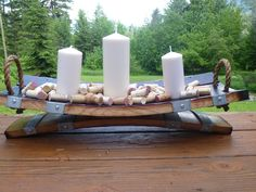 Cheese Platter/ Candle Holder (comes in different sizes) $155.00 Cheese Platters, Barrel, Candle Holders, Candles, Wine, Home Decor, Decoration Home, Cheese Boards, Barrel Roll