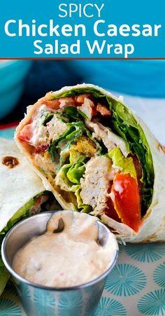 Spicy Chicken Caesar Salad Wrap - Spicy Southern Kitchen #lunch #wraps