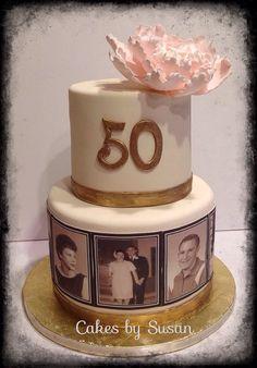 50th anniversary cake. Peony sugar flower.