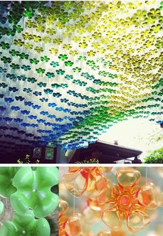 Create your own screen, curtain or room divider: string  together the flower-like bottoms of plastic bottles.