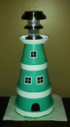DIY Clay pot lighthouse