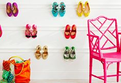 Kick Up Your Heels    Here's a simple solution to a messy pile of pumps. Paint and hang moulding (#348712) on a wall or in a closet to create a display that shows off your best shoes -- and gets them off the floor.