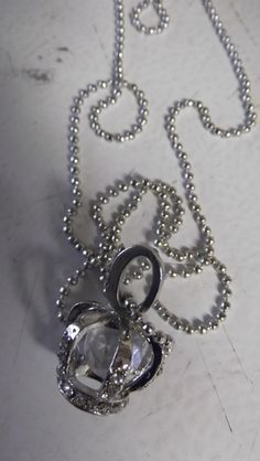 Silver Crown Pendant Crystal Necklace @Tophatter