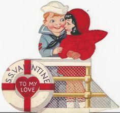 J21 40s Sailor on the SS Valentine Ocean Liner-Vintage Diecut Valentine Card