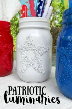 These patriotic luminaries are dressed in red, white, and blue and ready for your Fourth of July BBQ or Memorial Day gathering. They work as utensil holders by day and luminaries by night! #memorialday #4thofjuly #patriotic #luminaries #epsomsalt #redwhiteandblue #independenceday #july4th #bbq #summer #craftsbyamanda