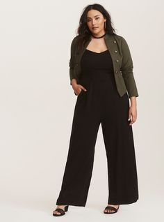 049301616558 Black Wide Leg Challis Jumpsuit - This black jumpsuit is going to be your  go-