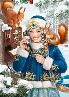 Snow Maiden by Tatiana Doronina Christmas Pictures, Christmas And New Year, Winter Christmas, Vintage Christmas, Christmas Cards, Merry Christmas, Russian Beauty, Russian Fashion, Snow Maiden