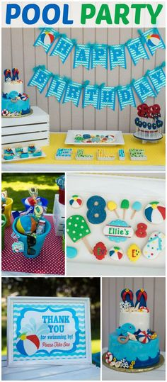 Lots of beach balls and fun at this pool party bash! See more party ideas at CatchMyParty.com!