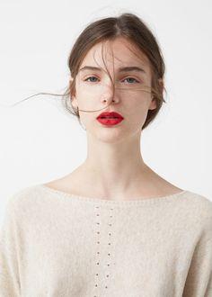 Cotton sweater - Women in 2020 Beauty Makeup, Hair Makeup, Hair Beauty, Makeup Goals, Gorgeous Makeup, Pretty Makeup, Red Lips Makeup Look, Sweet Makeup, Hair Balm