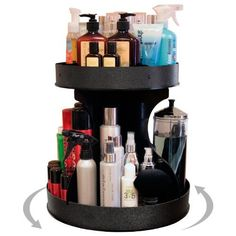 """Professional Stylists and """"Divas"""" Will Love 15"""" Wide, Spinning Cosmetic Organizer. Great for Salons or for Cosmetic Divas! Made by PPM in the USA! by Plastic & Products Marketing. $69.00. Just take out of the box and begin to get organized! With just a spin, all those beauty products are right at your fingertips not all over the counter!. 15"""" spinning cosmetic organizer spins easily on a 9"""" commercial grade turntable for your COUNTER TOP. Holds all those tall aerosole cans and ..."""